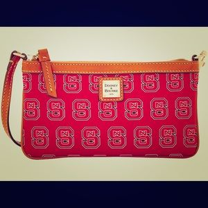 Red and Tan NC State Dooney & Burke wristlet